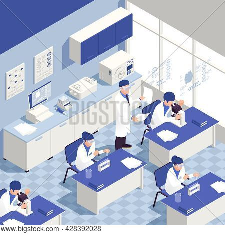 Genetic Engineering Laboratory Isometric Background With Genome Research Symbols Vector Illustration