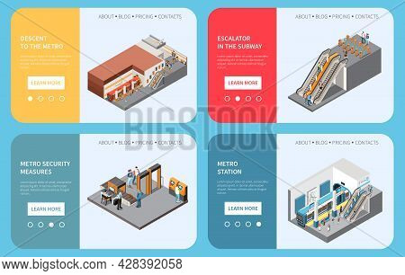 Subway Underground Metro Stations 4 Isometric Webpages With Passengers Ascending Descending Station