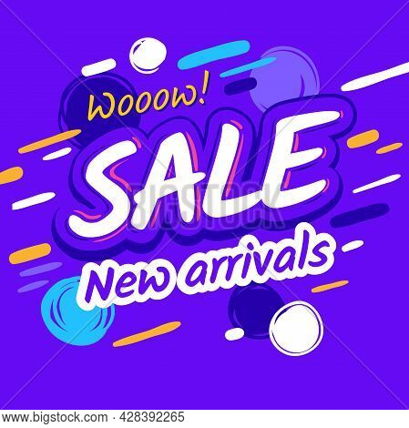 Only Today Sale. Template Discount, Time Limited Offer. Cartoon Text On Abstract Memphis Style Backg