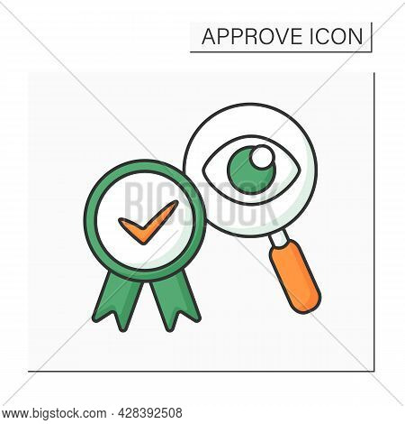 Approved Examine Color Icon. Eye Examination. Research Problems. Checking And Accepting. Confirmed C