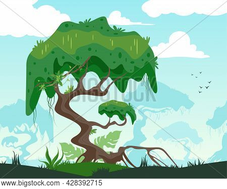 Lonely Majestic Tropical Tree Landscape And Jungle Plants On The Background Flat Vector Illustration