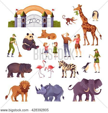 Animals Visitors And Workers Of The Zoo In One Set Flat Vector Illustration