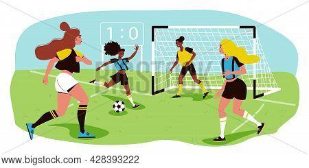 Female Football Team On Field And Woman Scoring Goal Flat Vector Illustration