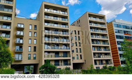 Prague, Czech Republic - July 4, 2021: Recently Build Modern Style Apartment Building In Newly Renov