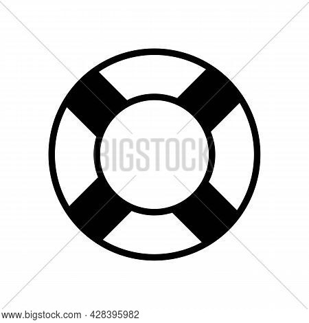 Lifebuoy Sign Icon. Support Service Concept Button. Trendy Flat Isolated Symbol On White Sign Can Be