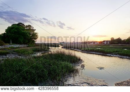 View Of Coastal Marsh Lands In The Low Country Near Charleston Sc At Sunset