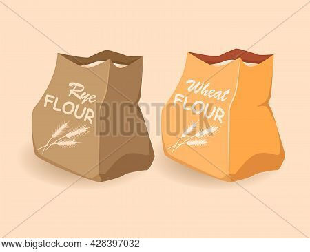 Paper Bags With Flour, Wheat, Rye. Ecological Packaging Of Products.vector Cartoon Illustration, Fla