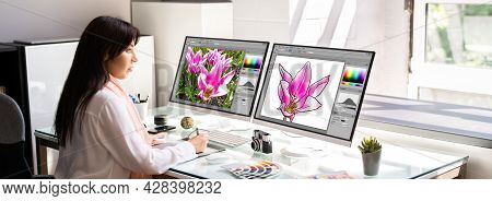 Professional Graphic Designer Woman Working On Computer