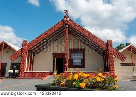 Assembly Hall Of Whakarewarewa Village, North Island Of New Zealand