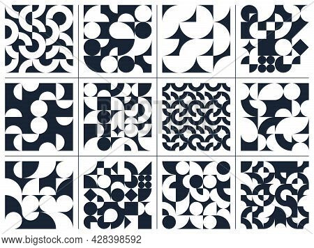 Geometric Abstract Seamless Patterns Set With Black And White Simple Elements Of Geometry, Wallpaper