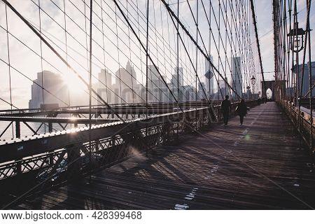 Brooklyn Bridge At Sunset, New York City.