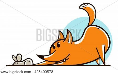 Funny Cartoon Fox Hunting And Catching Mouse Flat Vector Illustration Isolated On White, Wildlife An