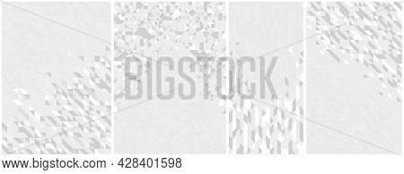 Abstract Mosaic Vector Backgrounds Set White And Gray Monochrome Illustrations Collection, Geometric