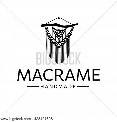 Macrame Logo, Hand Made. Knitting In Boho Style From Cotton Cord, Original Finishing. Line Art, Vect