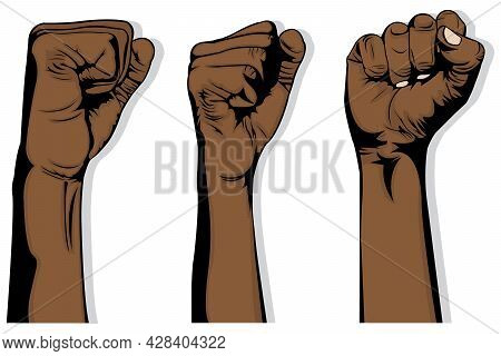 Simple Illustration Of Three Black Hands That Raise Their Fists Up On White Background. Human Hands.