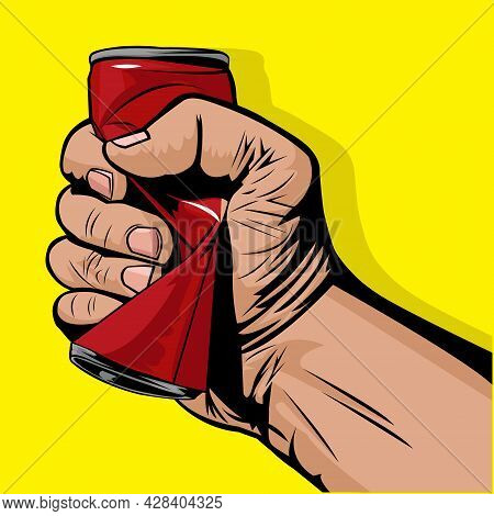 Vector Illustration Of Hand Squeezing A Red Can. Crush A Can Day. September 27th. 27 September.