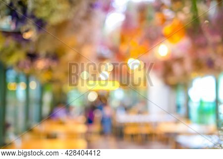 Blurry Bokeh Abstract Defocus Green Yellow Brown Colour In The Restaurant That Decorate By The Tree