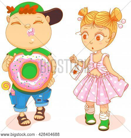 Chubby Cute Kid Eat Donut And Little Cute Girl In Beautiful Dress Looking Surprised