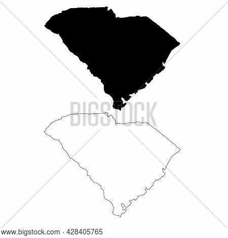 South Carolina Map On White Background. Outline Map State Usa - South Carolina. South Carolina State