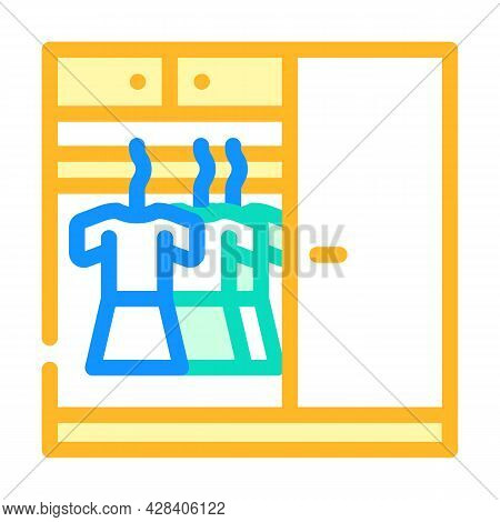 Wardrobe With Clothes Color Icon Vector. Wardrobe With Clothes Sign. Isolated Symbol Illustration