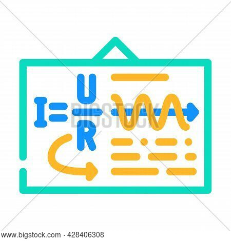 Board With Ohm Law Color Icon Vector. Board With Ohm Law Sign. Isolated Symbol Illustration