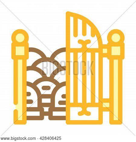 Entrance Gate To Cemetery Color Icon Vector. Entrance Gate To Cemetery Sign. Isolated Symbol Illustr