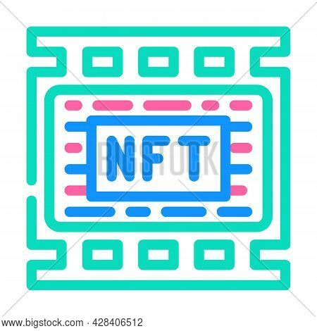 Nft Movies Color Icon Vector. Nft Movies Sign. Isolated Symbol Illustration
