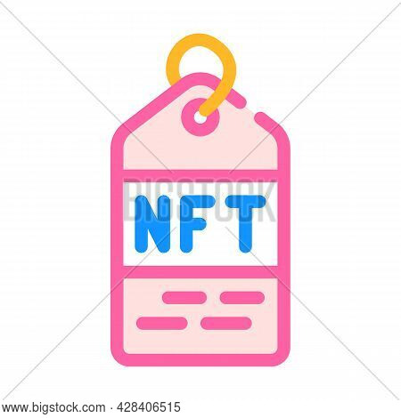 Nft Label Color Icon Vector. Nft Label Sign. Isolated Symbol Illustration