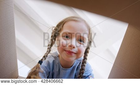 Funny little preschooler girl with long plaits opens brown cardboard box and looks inside after apartment relocation view from box