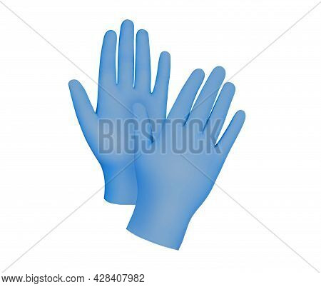 Medical Nitrile Gloves.two Blue Surgical Gloves Isolated On White Background With Hands. Rubber Glov