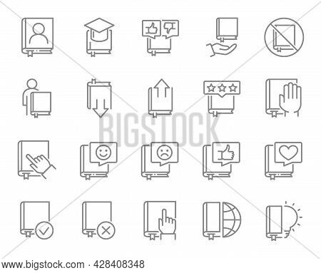 Set Of Book Line Icons. Brainstorm, Encyclopedia, Notebook, Bible, Bookstore And More.