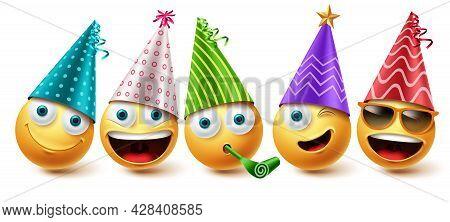 Emoji Birthday Emoji Vector Set. Emojis Emoticon Birthday Party Icon Collection Isolated In White Ba