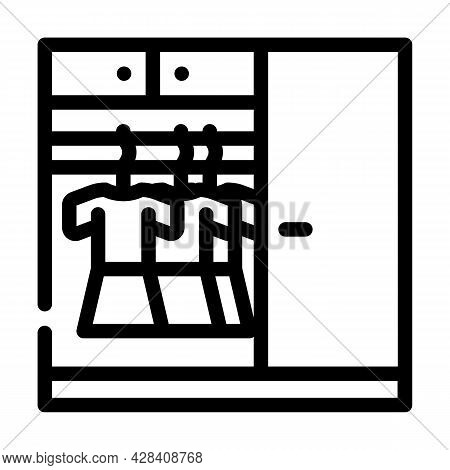 Wardrobe With Clothes Line Icon Vector. Wardrobe With Clothes Sign. Isolated Contour Symbol Black Il