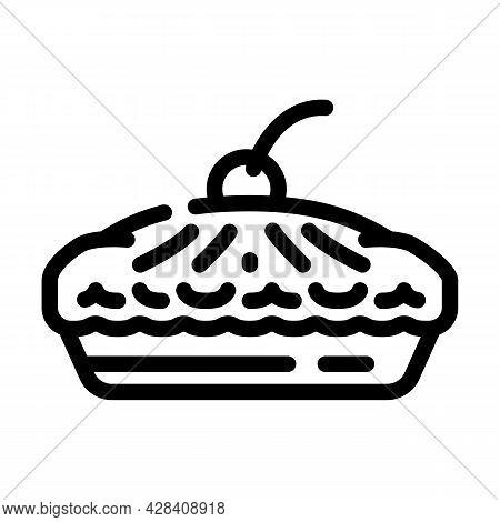 Pie With Cherry Berry Dessert Line Icon Vector. Pie With Cherry Berry Dessert Sign. Isolated Contour