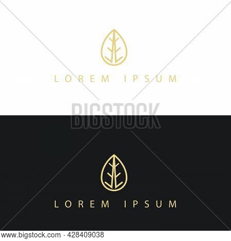 Simply Stylish Modern Gold Leaf Logo Vector Elements