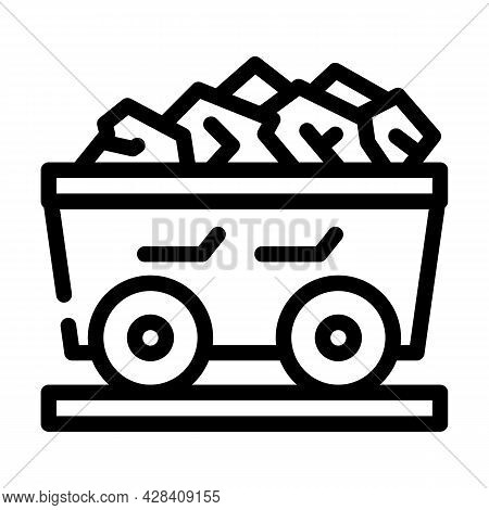 Coal Cart Line Icon Vector. Coal Cart Sign. Isolated Contour Symbol Black Illustration