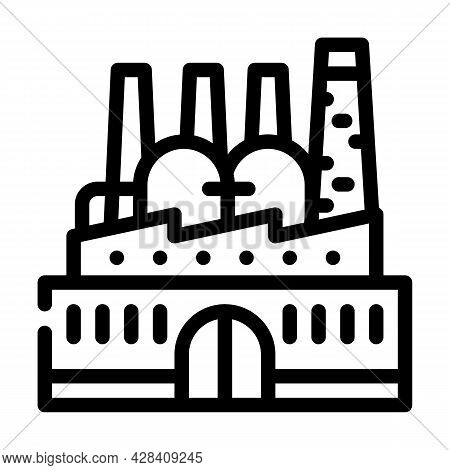 Power Plant Infrastructure Line Icon Vector. Power Plant Infrastructure Sign. Isolated Contour Symbo
