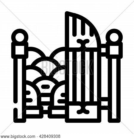 Entrance Gate To Cemetery Line Icon Vector. Entrance Gate To Cemetery Sign. Isolated Contour Symbol