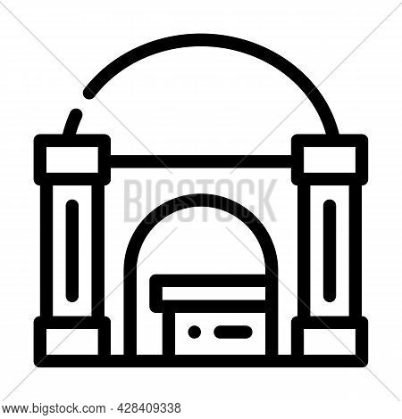 Funeral Crypt Line Icon Vector. Funeral Crypt Sign. Isolated Contour Symbol Black Illustration