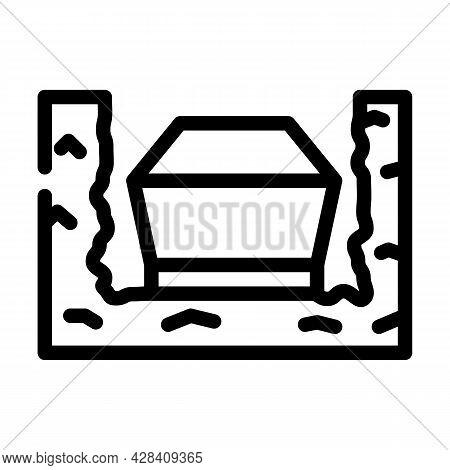 Coffin In Ground Line Icon Vector. Coffin In Ground Sign. Isolated Contour Symbol Black Illustration