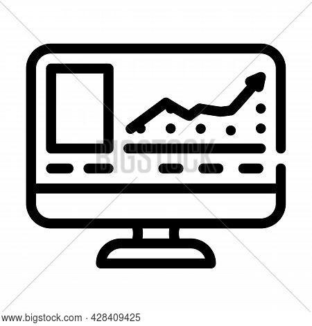 Virtual Auction Line Icon Vector. Virtual Auction Sign. Isolated Contour Symbol Black Illustration