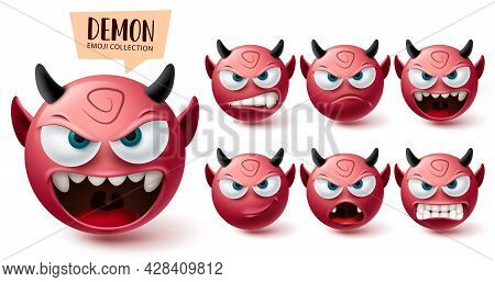 Emoji Demon Emoji Vector Set. Emojis Halloween Red Mascot Character Collection Isolated In White Bac