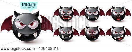 Emoji Halloween Emoji Vector Set. Emojis Creepy Bat Character Collection Isolated In White Backgroun