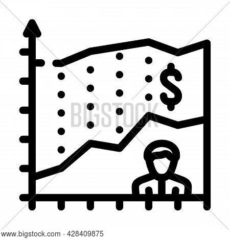 Investor Income Chart Line Icon Vector. Investor Income Chart Sign. Isolated Contour Symbol Black Il