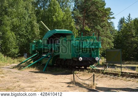 Fort Krasnaya Gorka, Russia - July 19, 2021:  Artillery Transporters Tm-i-180 With A 180-mm Gun. For