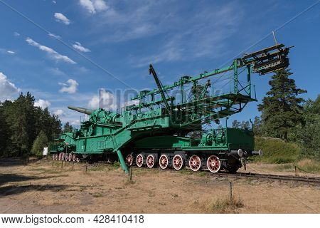 Fort Krasnaya Gorka, Russia - July 19, 2021:  Artillery Transporter Tm-3-12 With A 305-mm Gun From T