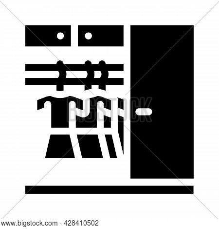 Wardrobe With Clothes Glyph Icon Vector. Wardrobe With Clothes Sign. Isolated Contour Symbol Black I