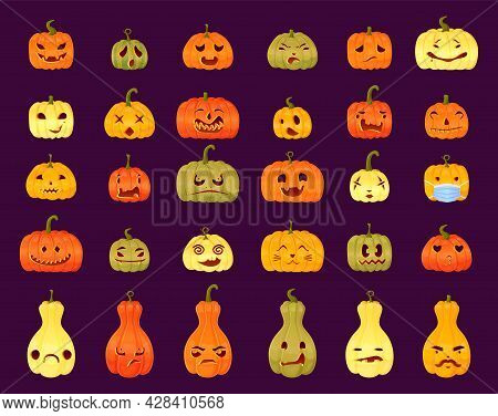 Set Of Different Jack-o-lantern Faces Expressions. Halloween Party Pumpkin Carving On Purple Backgro