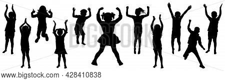 Silhouette Of Jumping And Standing Children. Happy Cheerful Kids. Vector Illustration.