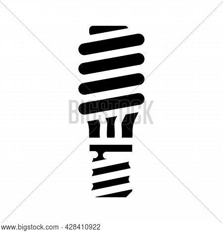 Electric Economy Lamp Glyph Icon Vector. Electric Economy Lamp Sign. Isolated Contour Symbol Black I